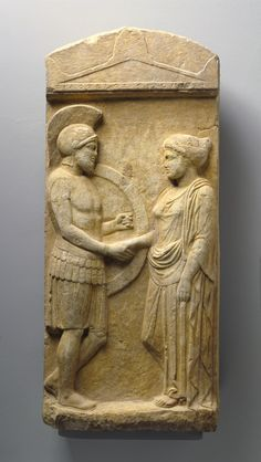 """Grave stele of the fallen hoplite named Philoxenos with his wife Philoumene in a scene of dexiosis or a farewell of the dead or perhaps a reunion in the afterlife. Attic marble relief ca. Ancient Greek Art, Ancient Greece, Ancient History, Roman Sculpture, Lion Sculpture, Sea Peoples, Getty Museum, The Life, Art History"