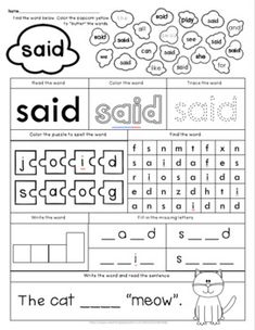 Sight Word Flashcards, Sight Word Worksheets, Printable Preschool Worksheets, Phonics Worksheets, Kindergarten Worksheets, Kindergarten Homeschool Curriculum, Homeschool Kindergarten, Homeschooling, Literacy