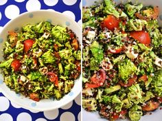 amazing Broccoli Salad, don't forget to add bacon.bacon makes everything better. Quinoa Broccoli, Broccoli Recipes, Salad Recipes, Healthy Salads, Healthy Eating, I Love Food, Good Food, Vegetarian Recipes, Healthy Recipes