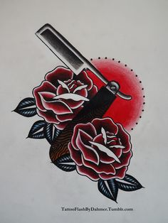 razor rose traditional tattoo flash