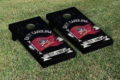East Carolina University ECU Pirates Cornhole Game Set Banner No Quarter Version