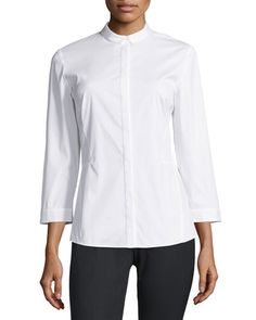 Lafayette 148 New York Gloria 3/4-Sleeve Blouse, White New offer @@@ Price :$298 Price Sale $175