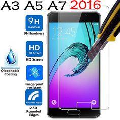 9 h tempered glass film per samsung a3 a5 a7 (2016) anti-esplosione di vetro del telefono protezione dello schermo pellicola per galaxy a710f a510f a310f