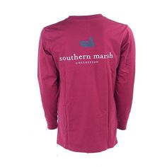 southern marsh collegiate authentic long sleeve t-shirt ($35) ❤ liked on Polyvore featuring tops, t-shirts, purple tee, purple long sleeve t shirt, longsleeve tee, purple top and long sleeve t shirt
