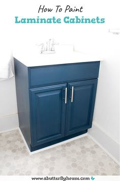 Learn how to paint laminate cabinets in a bathroom or kitchen. An easy paint project that can completely transform a room! Laminate Cabinet Makeover, Painting Laminate Cabinets, Painting Bathroom Cabinets, Wood Laminate, Diy Furniture Flip, Cleaning Cabinets, Butterfly House, Easy Paintings, Learn To Paint