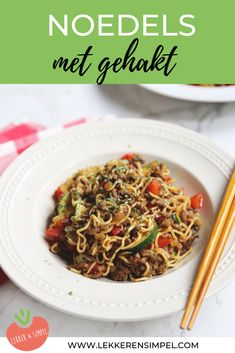 Noedels met gehakt - een lekker snel recept - Lekker en Simpel Diner Recipes, Cooking Recipes, Healthy Recipes, Cooking For Dummies, Low Carb Brasil, Pesto Pasta Recipes, Zucchini, Good Food, Yummy Food