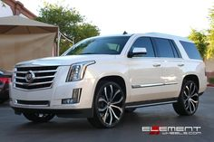 2015 Escalade White Diamond Wallpaper | 26x10 Lexani Lust Black/Machined on 2015 Cadillac Escalade w/ Specs