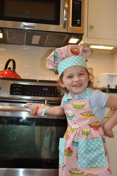 Little Baker Apron Chef Hat and oven Mitt by GracieFrancesDesign.    What a cute idea!