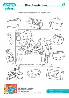 Coloriage : Le quiz de la cuisine de Tchoupi Coloring Books, Coloring Pages, Busy Bags, Learn French, Activity Games, Kindergarten, Language, Bullet Journal, Teaching