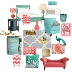 Aqua and Coral bedroom | Found on erica-hinders-allex.polyvore.com