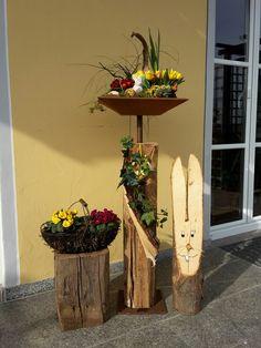 Holzbalken mit Schale - Holzfüchse