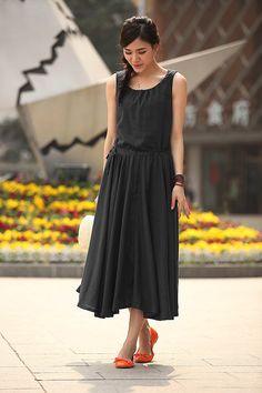 Black Dress Women's Linen Maxi Dress Oversize Long Dress Maxi Skirt Linen Sundress- WH130,S-4XL