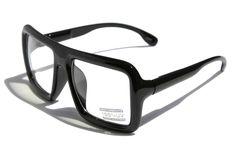 75983014c48d Large Retro Nerd Bold Thick Square Frame Classic Eye-Glasses Gloss Black  SQUARE