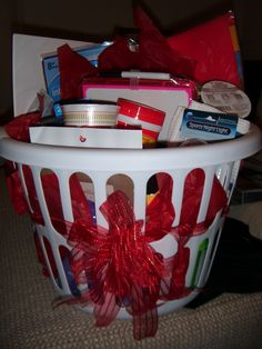 """Graduation Gift Idea ~ """"Care Package for College"""" ~ include items they may forget to pack: flashlight, band-aids, batteries, night light, cold tablets, shower caddy, message board, scotch tape, stapler, laundry detergent, wet wipes, reusable plastic cups, plates & bowls, etc.!"""