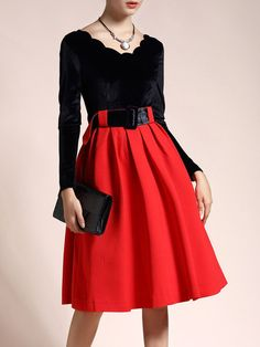 Black A-line Elegant Paneled Midi Dress with Belt