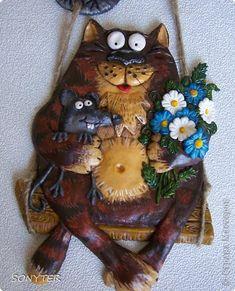 Картина панно рисунок Поделка изделие Лепка Мой весенний котяра  Гуашь Тесто соленое фото 1