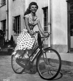 Vera Ellen biking, 1951