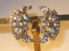 Vintage Clear Rhinestone Crescent Clip by delightfullyvintage
