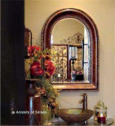 Mediterranean Style Bronze Bathroom Mirror