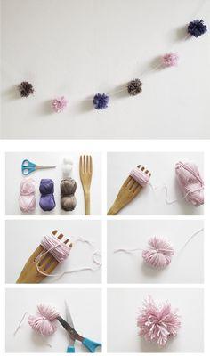 DIY Decorations at Design and Form - make pom poms using a large fork!