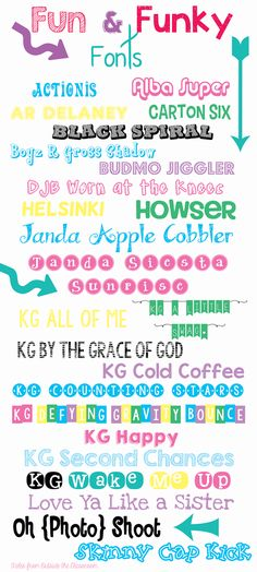 """Favorite Fun & Funky Fonts from Tales from Outside the Classroom, including """"wake me up"""" with letters in solid colored bubbles"""