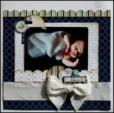 Sweet Baby Scrapbooking Page...with large ribbon bow.