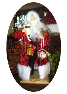 """Holidays at the Inn, 18"""" Lynn Haney Santa, a Laurel Ridge exclusive Lynn Haney, designed for and sold only at Laurel Ridge.  The porcelain ornament he holds shows the beautiful historic home that is now our shop!  We are celebrating 100 years with this beautiful Santa, as the property was built in 1914!"""