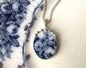Broken china jewelry oval pendant necklace antique 1880's Flow Blue roses floral china