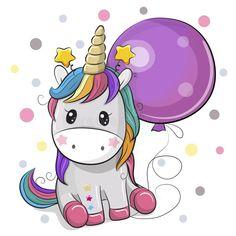 Cute Cartoon Unicorn with Balloon. Greeting card Cute Cartoon Unicorn with purple balloon royalty free illustration Unicorn Drawing, Cartoon Unicorn, Unicorn Cat, Cute Unicorn, Cartoon Kunst, Cartoon Drawings, Cartoon Art, Cute Drawings, Unicorn Wallpaper Cute