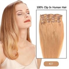 16 Inch Strawberry Blonde (#27) 10pcs Straight Full Head Set Remy Clip in Human Hair Extensions WFLD009