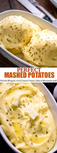 BEST Mashed Potatoes RecipeThis is literally the BEST mashed potatoes recipe! Loaded with rich and creamy flavor it's perfectly whipped texture makes it freezer friendly and easy to scoop even when it's cold! It microwaves, freezes and Perfect Mashed Potatoes, Homemade Mashed Potatoes, Frozen Potatoes, How To Cook Potatoes, Flavored Mashed Potatoes Recipe, Freezing Potatoes, Baby Potatoes, Easy Potato Recipes, Food Cakes