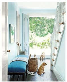 Cut Diamond by Ralph Lauren Paint brings the outdoors in, perfect for a bright entryway.someday my entryway will look like this! Ralph Lauren Paint, Fresh Farmhouse, Farmhouse Decor, Hill Interiors, Entrance Design, Main Entrance, Grand Entrance, Coastal Living Rooms, Living Spaces