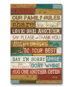 Take a look at this 'Our Family Rules' Canvas Wall Art by COURTSIDE MARKET on today! ***I like the different wood pieces/colors. Good DIY out of the old barnwood for different sayings. Wood Wall Art, Canvas Wall Art, Big Canvas, Family Canvas, Family Rules, Family Signs, Group Rules, Beach Signs, Home And Deco
