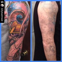 Repost from our client, in their words: Two years eight laser sessions with GO! Tattoo Removal, boat loads of pain . Four cover up sessions in with Craig Driscoll (http://instagram.com/5ive2wo)  Can't thank you enough for trusting us to do this Billy!  We know Craig is killing the cover up and we're as excited as you are to see it finished!  See more Cover-Up photos after laser treatments http://www.gotattooremoval.com/tattoo-removal-tattoo-cover/