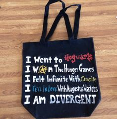 Book Lover Tote Bag by ThePerksOfBeingArtsy on Etsy  if you love The Fault In Our Stars, The Perks of Being A Wallflower, The Hunger Games, Divergent & Harry Potter <3