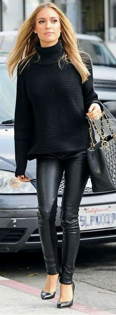 Leather leggings and a sweater.