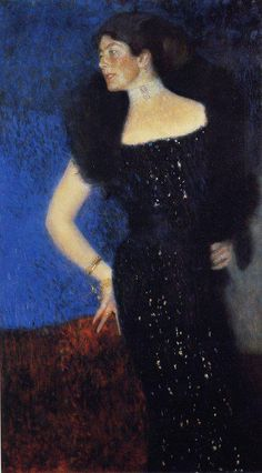 Gustav Klimt-Lady in Black is a portrait of Rose von Rosthorn-Friedmann She and her husband were strong supporters of the arts.  Rose was a very modern woman, she was the first woman to climb the Watzmann-Ostwand (2653m) with the highest cliff (1800m) of the Ostalpen. During World War I she volunteered in a military hospital in Vienna, caught the deadly typhus and died in 1919.