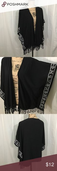 "No Boundaries Black Tribal Fringe Kimono  (XL) Rayon kimono has white stitch tribal border and front fringe. Cape Style fit.     :037                Length 25"", width 40"". XL fits sizes 15-17 No Boundaries Jackets & Coats"