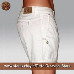 Short Bermuda Donna Made In Italy Pantaloni corti Bianco cotone stretch