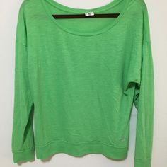 Victoria's Secret Pink Top Green loose wide necked top. Worn just a few times, but still in good condition. Victoria's Secret Tops Tees - Long Sleeve