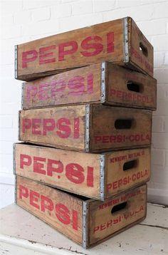 Vintage Pepsi Soda Storage Box Wooden Crate Trug Box by uulipolli, £36.00