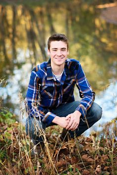 Senior Guy Pose Ideas - Senior Boy Picture - Senior Guy Portrait - Breezy Hill Portraits - Fall Portrait -Fall Session - Flannel - River - Water - Creek