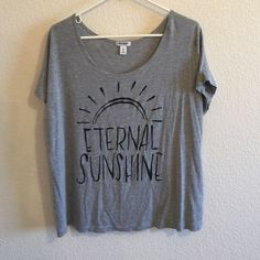 """Gray Oversized Dolman Tee Super cute and comfy oversized dolman tee! NWOT! It reads """"Eternal Sunshine"""" and the letters are kinda sparkly! Comment any questions! I accept offers! Old Navy Tops Tees - Short Sleeve"""
