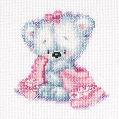 "Teddy Bear Cutie Counted Cross Stitch Kit-6""X8"" 14 Count                                                                                                                                                                                 Plus"