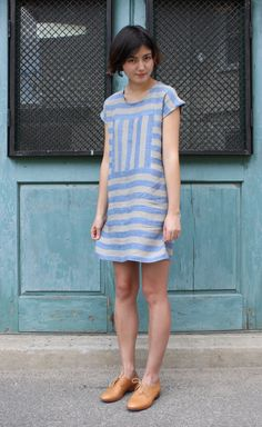 simple dress diy, spring, summer, mini, striped, white, cream, blue, sky, tan leather, bob haircut repin.