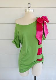 WobiSobi: Bow, T-Shirt DIY - these colors are hideous but the concept is kinda cute