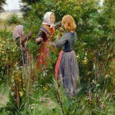Hans Andersen Brendekilde – Danish) Three Little Girls Picking Blackberries Great Paintings, Beautiful Paintings, Lund, Three Little, Odense, Ludwig, Art Database, Cool Art, Fun Art