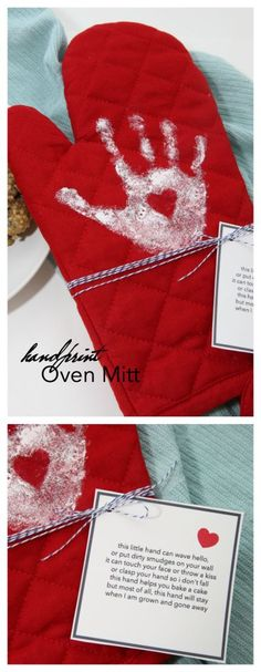 Mother's Day Ideas  Looking for a last minute gift idea for Mother's Day that she will love? Make this adorable Handprint Oven Mitt with your little one's handprint.  It is so easy and Mom is going to love it!