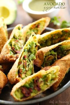 I adore The Cheesecake Factory's Avocado Egg Rolls. In fact, I make a meal out… Asian Recipes, Healthy Recipes, Ethnic Recipes, Avocado Recipes, Avocado Dishes, Yummy Recipes, Avocado Egg Rolls, Avocado Fries, Recipes