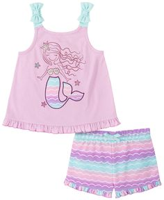When days are warm, dress her in the precious comfort of this coordinated ensemble, featuring cute shorts paired with an adorable top. Little Girl Outfits, Toddler Girl Outfits, Kids Outfits, Toddler Girls, Infant Toddler, Kids Girls, Mermaid Tank Top, Kids Headquarters, Best Tank Tops